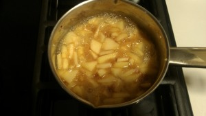 Apples and Apple Pie spices simmering- Almost ready to adorn the SCD cheese cake!