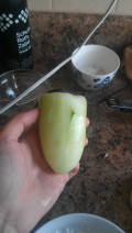 Peel your hollow cucumber carefully